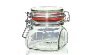 Pot en verre carré avec fermeture mécanique (370ml)