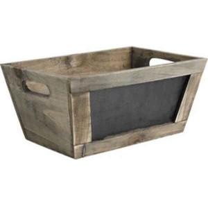 Corbeille bois tableau noir 28x18x10 cm marchands de for Tableau noir en bois