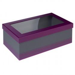 Coffret rectangle violet/gris avec fenêtre PVC