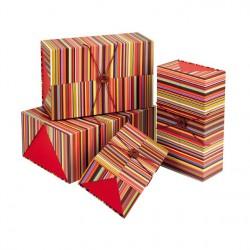 Coffret rectangle double épaisseur élastique et bouton bois coloris rouge/rayures