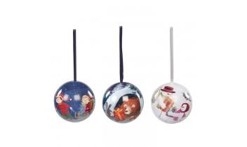 3 Boules de Noël garnies pièces en chocolat 36g