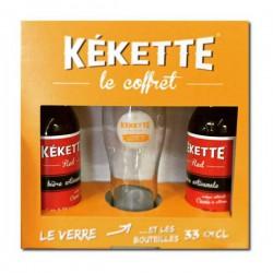 Petit coffret de bières Kékette Red 33cl et 1 verre